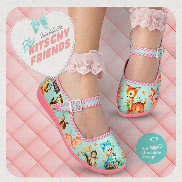 Chocolaticas_Blue_Kitchy_Friends_womens_Mary_Jane_Flat_Square